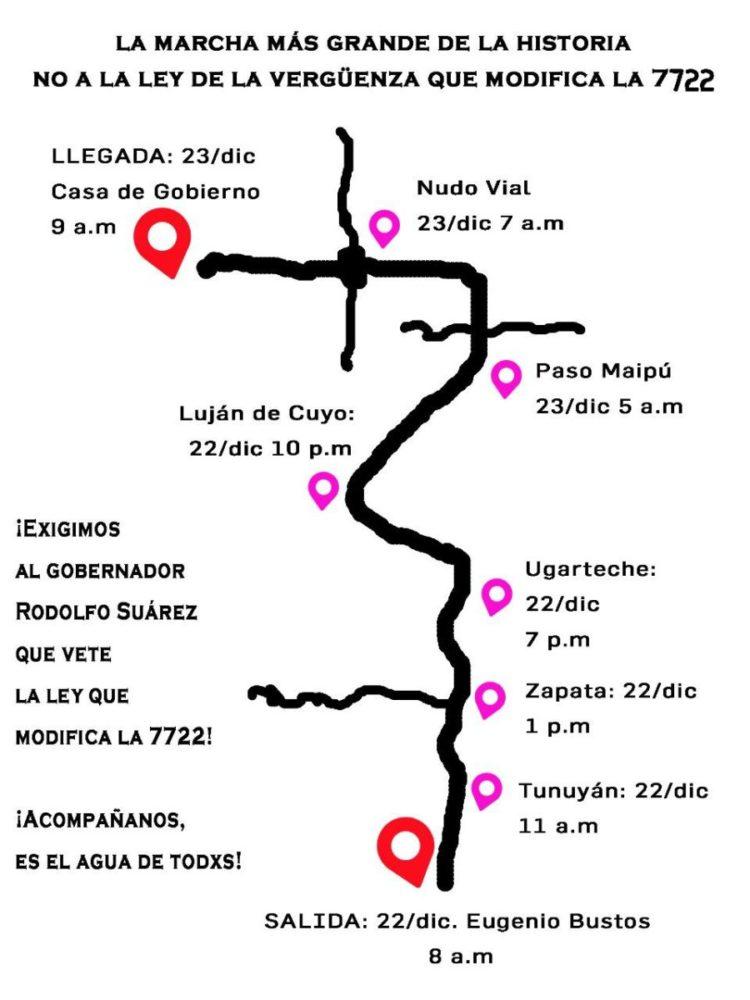 El mapa de la pueblada mendocina, que marcha hacia la capital en defensa del agua.